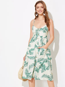 Single Breasted Tropical Print Cami Dress