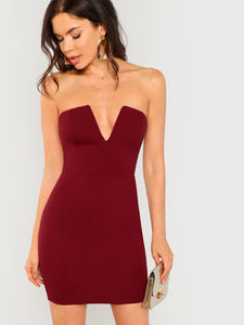 Plunge Neck Tube Dress