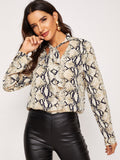 Tie Neck Snake Skin Print Top