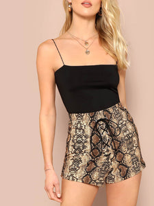 Lace Up Snakeskin Print Shorts