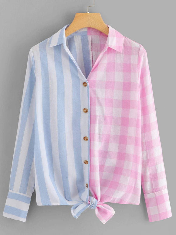 Single Breasted Knot Hem Striped Plaid Blouse