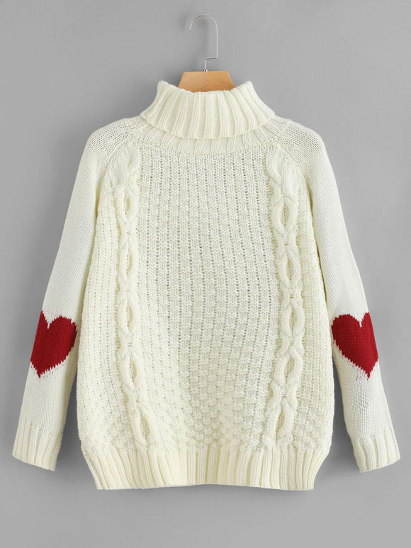 High Neck Heart Print Sweater