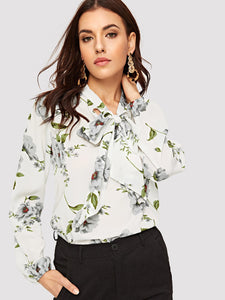 Tie Neck Curved Hem Floral Top
