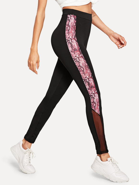 Mesh Insert Snakeskin Panel Leggings