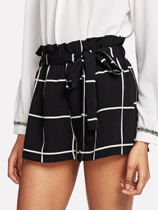 Ruffle Waist Self Belt Grid Shorts