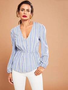 Striped V-Neck Smock Top