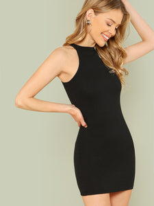 Mock Neck Solid Halter Dress