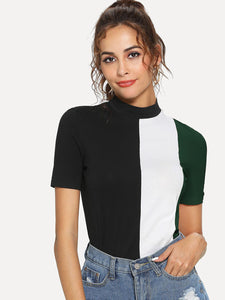 Mock-neck Color-block Tee