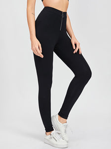 Zip Front Solid Leggings