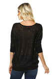 Open Knit Sequin Top