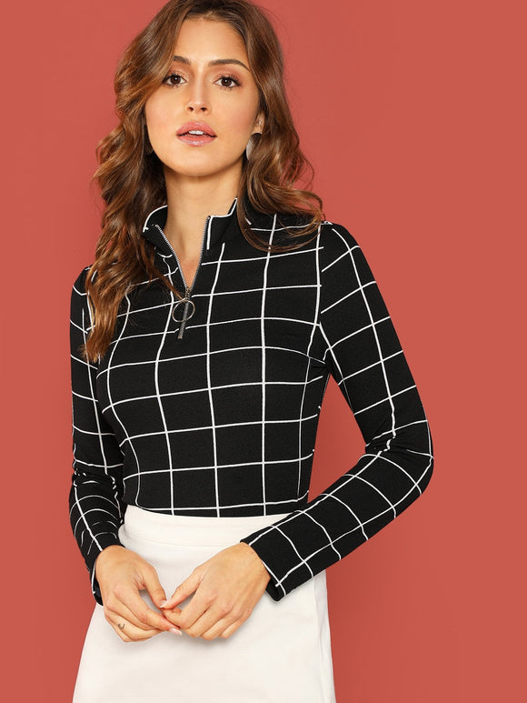 Zip Half Placket Form Fitting Grid Top