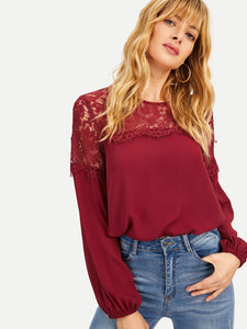 Lace Insert Bishop Sleeve Top