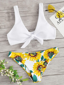 Ribbed Tie Front Top With Random Floral Bikini