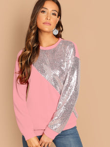 Sequin Patched Cut-and-sew Pullover