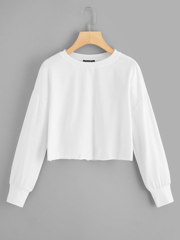 Drop Shoulder Solid Crop Pullover