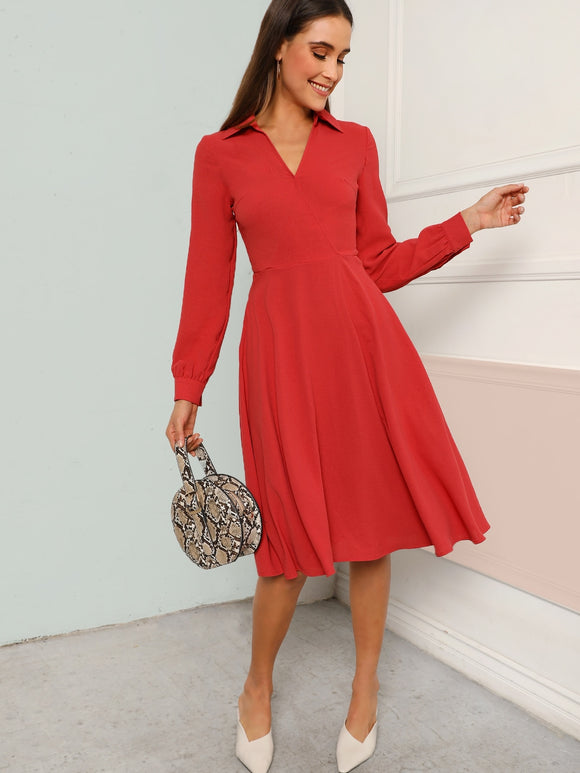 V-cut Neck Fit & Flare Dress