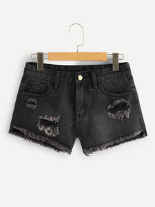 Zip Fly Ripped Denim Shorts