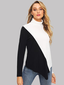 Two-tone Asymmetrical Hem Pullover