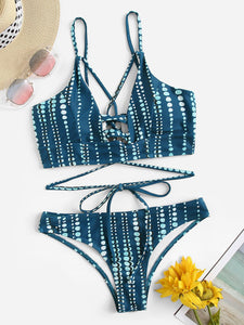 Lace-up Back Top With Low Rise Bikini Set