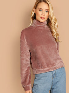 High Neck Exposed Zip Back Teddy Pullover
