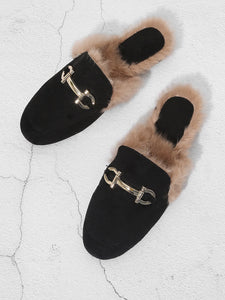 Faux Fur Trim Loafer Mules
