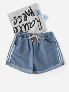Tape Detail Cuffed Hem Drawstring Waist Denim Shorts