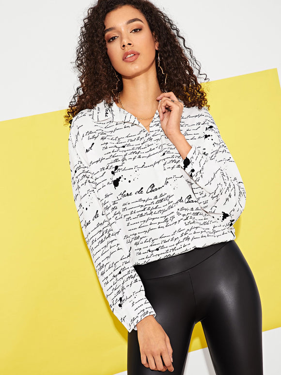 Letter Print Collar Top