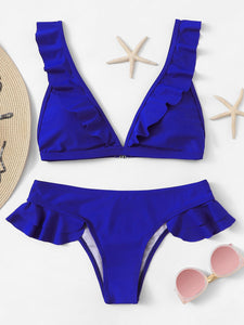 Plunge Ruffle Top With Low Rise Bikini Set