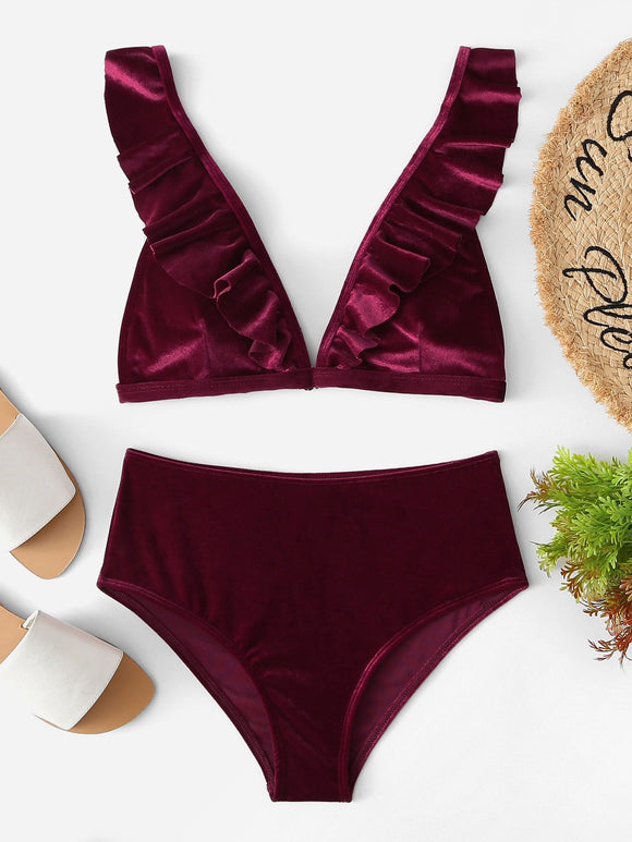 V-Plunge Ruffle Velvet Top With High Waist Bikini