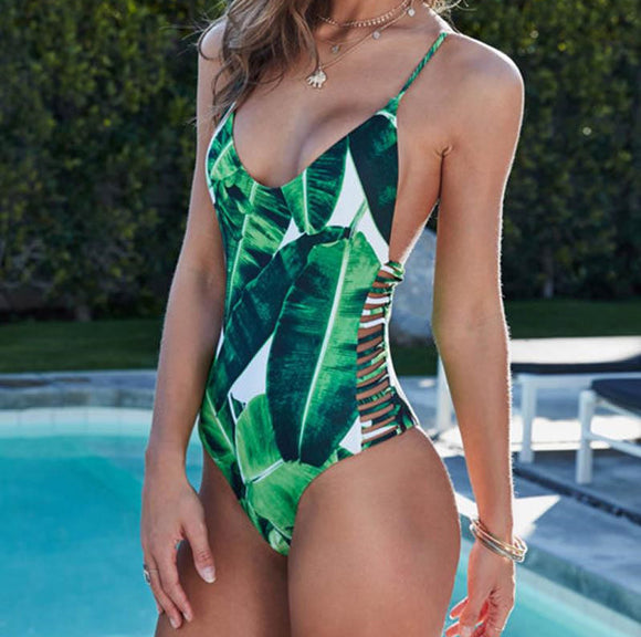 One Piece Leaf Printed Swimsuit