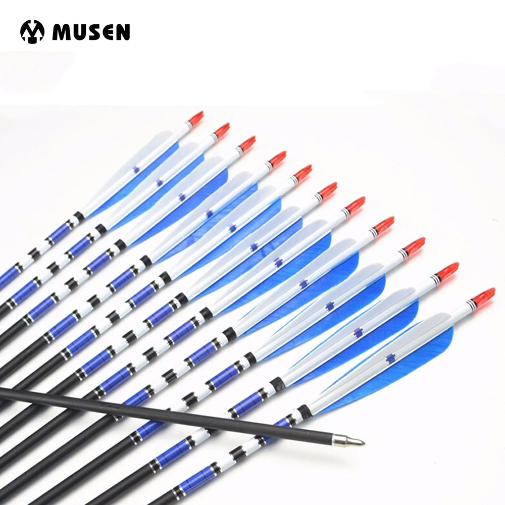 6/12/24pcs/lot 30 Inches Carbon Arrows 5 Inch BLue Turkey Feather Changeable Broad Head Spine 500 For Archery Hunting/Shooting