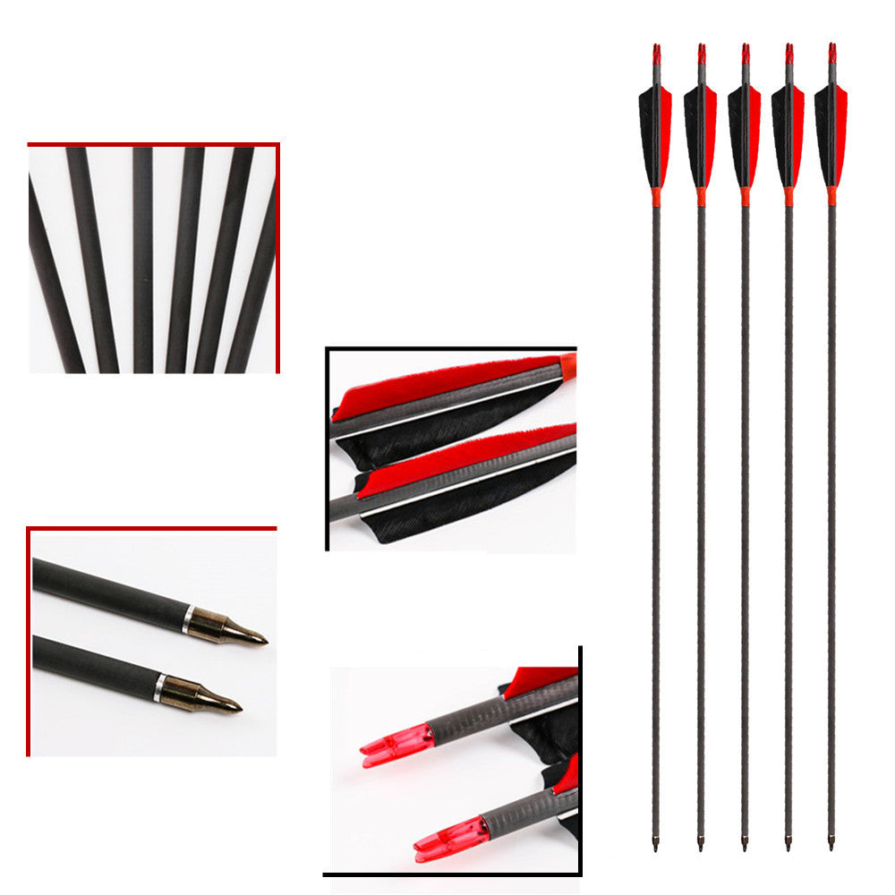 "Archery Arrows 400 to 600 Spine Carbon Arrow 4"" Real Feather For Hunting and Shooting Bow 28/29/30 inch 6PK"
