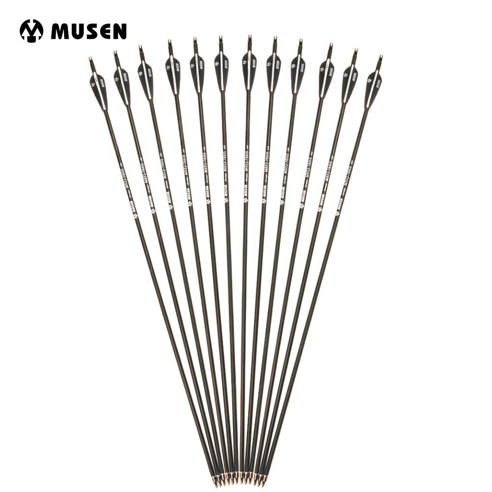 6/12/24pcs/lot 28/30 inches Spine 500 Carbon Arrow with Black and White Color for Recurve/Compound Bows Archery Hunting K