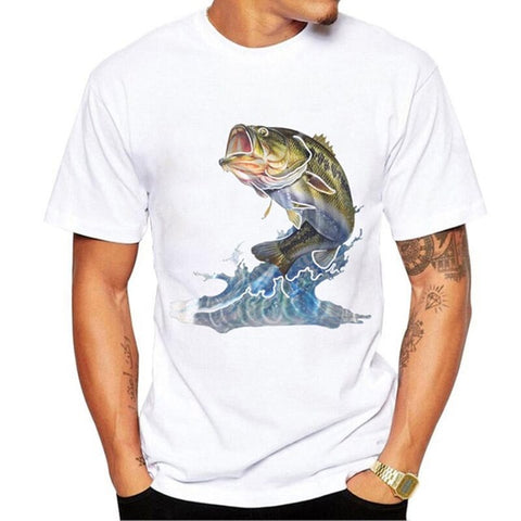 3D SEA Tuna Fish Printed T-Shirt For Men
