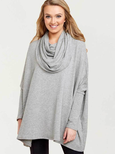 Girls Like You Cowl-Neck Oversize Top