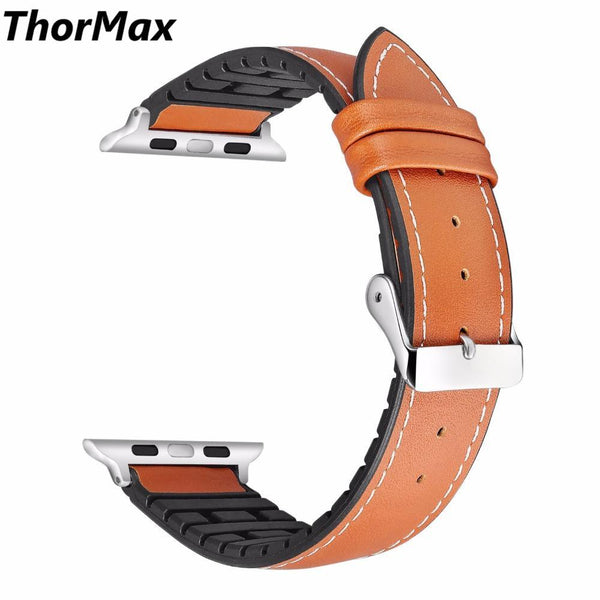 for Apple Watch Bands 38/42mm Replacement Genuine Vintage Leather With Silicone Strap for iwatch Series 3/ 2 /1