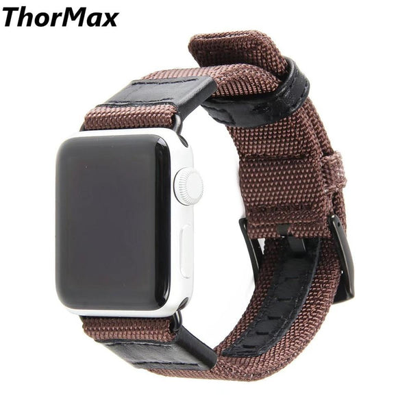 Luxury Canvas Leather Watch Band Wrist Strap For Apple Watch Series 1/2/3 38/42mm Size for iwatch thormax