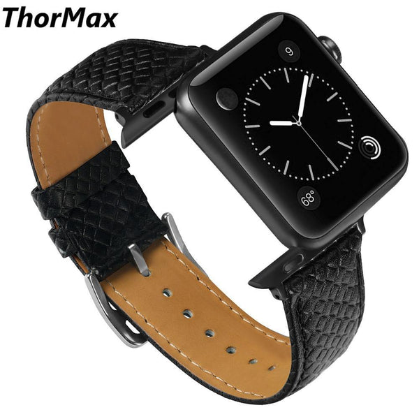 ThorMax Diamond texture 100% Genuine Leather for Apple Watch Band Strap for iwatch Series 3 2 1 Black 42MM 38MM