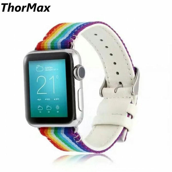 Rainbow watchband for Apple Watch woven oxford with Genuine leather replacement band 42mm 38mm ThorMax