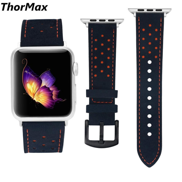 ThorMax 100% Genuine Leather for Apple Watch Band Strap for iwatch Series 3 2 1 Blue Orange Spots 42MM 38MM