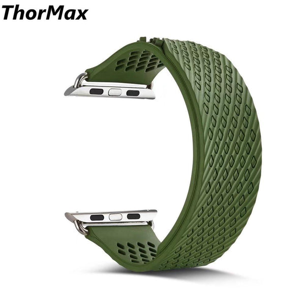 ThorMax No buckle Sport Diamond design For Apple Watch Silicone Wrist Watch Strap Loop Pressed-button Bracelet Replacement Band