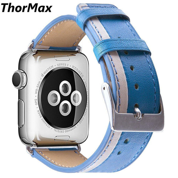 Genuine Leather Double-color Strap Classic buckle Bracelet Replacement Men/women watchband for apple watch series 1/2/3 38/42mm