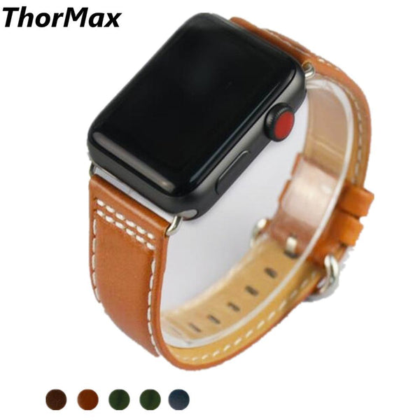 ThorMax 5 color Genuine Leather Round buckle Retro Band for Apple Watch Series 1/2/3 Watchband Replacement Strap Men/Women 38/42
