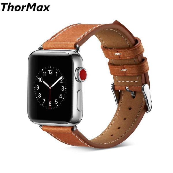 ThorMax Genuine Leather bracelet band for Apple Watch Series 1/2/3 Watchband Replacement Strap Men/Women 38/42mm 6 colors