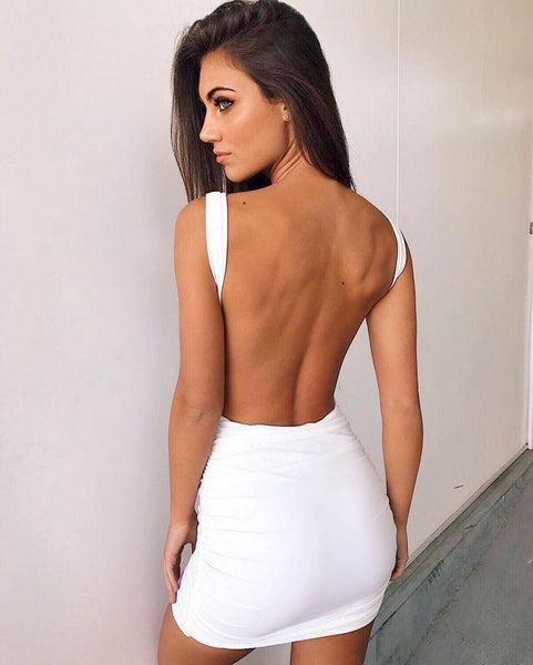 Silvana backless dress-White