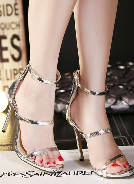 Strapped Lux Heel Shoes-Silver