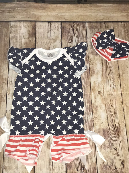 American Beauty 4th of July Romper