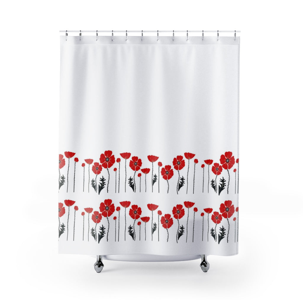 Red Flowers On White Shower Curtain