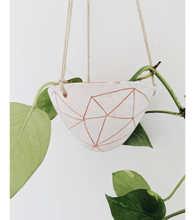 Geotriangle Hanging Planter in White & Terracotta Set