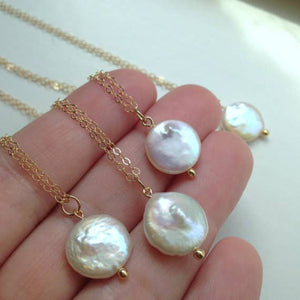 White Freshwater Coin Pearl Necklace
